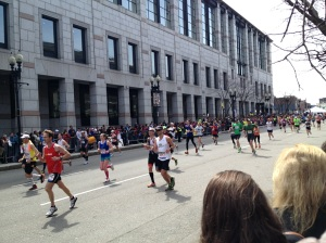 Boston Marathon runners just after they took the left on Boylston Street. 1:15pm.